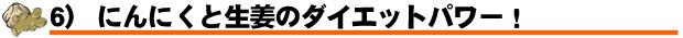 6) にんにくと生姜のダイエットパワー!